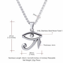 Load image into Gallery viewer, GUNGNEER Stainless Steel Eye of Horus Necklace Link Chain Ring Protection Egyptian Jewelry Set