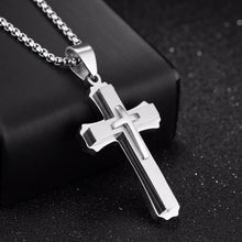 Load image into Gallery viewer, GUNGNEER Cross Necklace Stainless Steel Multilayer Christian Jewelry Gift For Men Women
