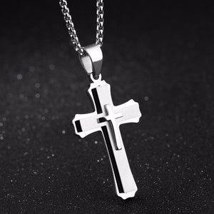 GUNGNEER Cross Necklace Stainless Steel Multilayer Christian Jewelry Gift For Men Women