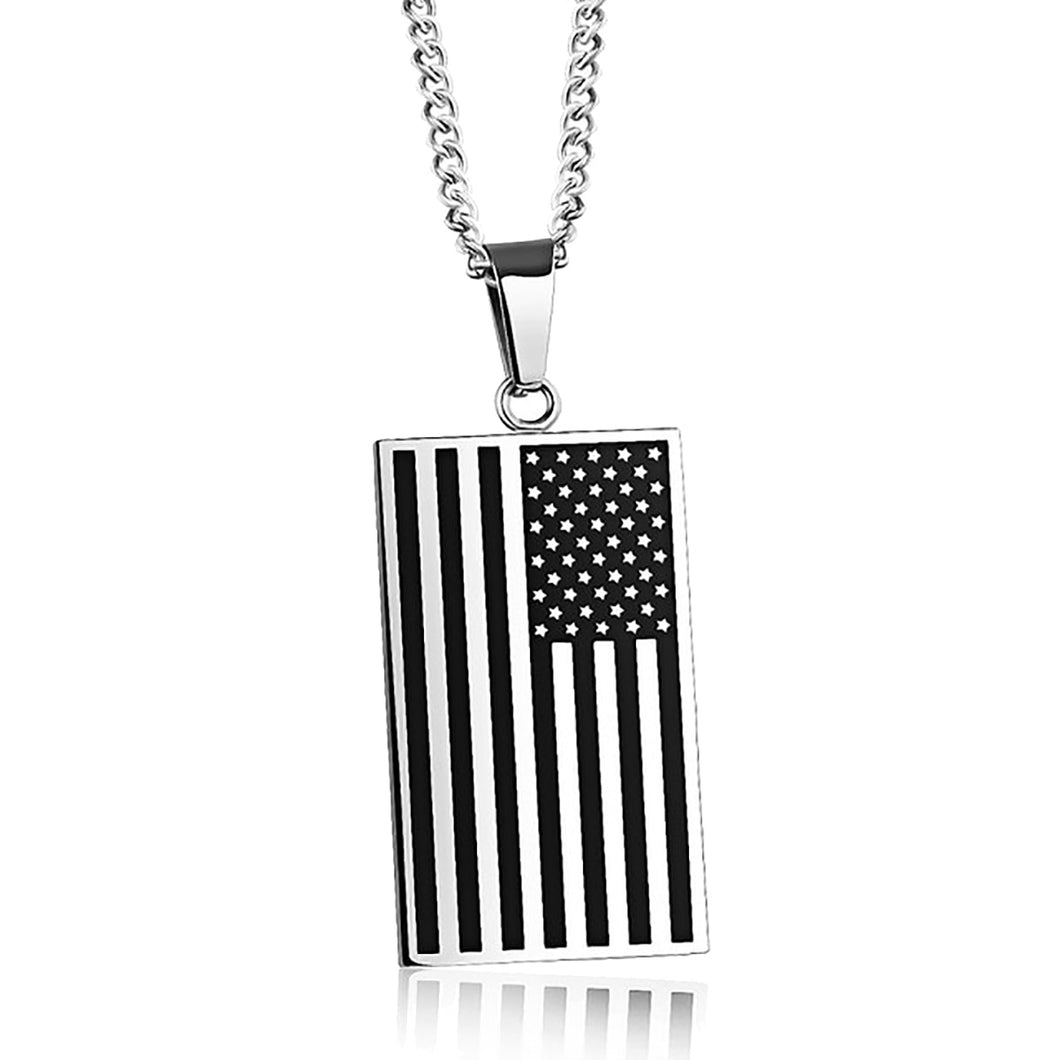 GUNGNEER Stainless Steel Square USA America Flag Patriotic Fashion Jewelry Men Women