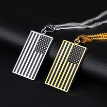 Load image into Gallery viewer, GUNGNEER Stainless Steel Square USA America Flag Patriotic Fashion Jewelry Men Women