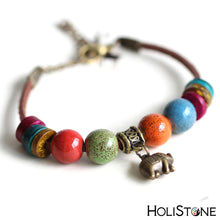 Load image into Gallery viewer, HoliStone Vintage Bohemian Colorful Beads with Lucky Elephant Bracelet for Women and Men ? Yoga Meditation Energy Healing and Balancing Bracelet