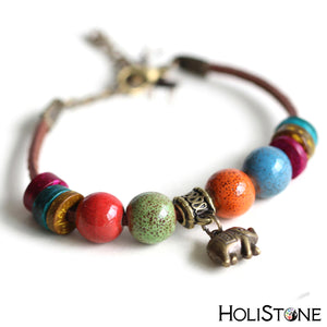 HoliStone Vintage Bohemian Colorful Beads with Lucky Elephant Bracelet for Women and Men ? Yoga Meditation Energy Healing and Balancing Bracelet