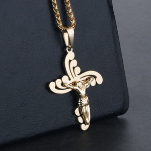 GUNGNEER Stainless Steel Cross Necklace Jesus Pendant Jewelry Accessory For Men Women