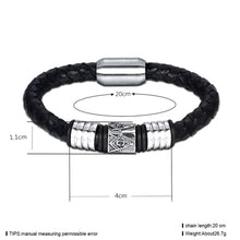Load image into Gallery viewer, GUNGNEER Masonic Magnetic Bracelet Genuine Leather Stainless Steel Biker Jewelry For Men
