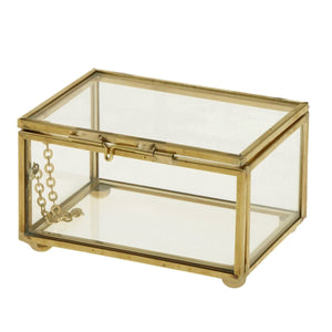 2TRIDENTS Geometric Glass Style Jewelry Box - Decorations Glass Gift Holder Jewelry Storage Box for Women