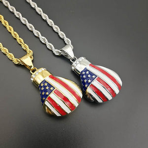 GUNGNEER Stainless Steel Hip Hop Boxing Glove American Flag Pendant Necklace Jewelry Men Women