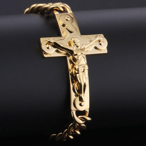 GUNGNEER God Christ Sideway Bracelet Cross Jewelry Accessory Outfit Gift For Men Women