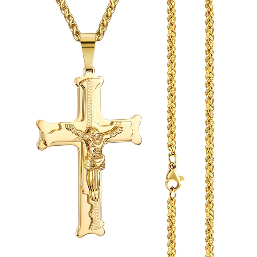 GUNGNEER Christian Cross Pendant Necklace God Biker Jewelry Accessory For Men Women