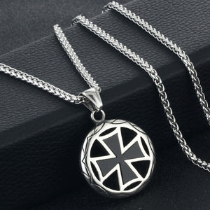 GUNGNEER Templar Knights Cross Necklace Stainless Steel Wheat Chain Bracelet Jewelry Set