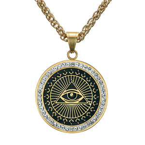 GUNGNEER Stainless Steel Round Eye Pendant Freemason Eye Of Horus Necklace Jewelry For Men