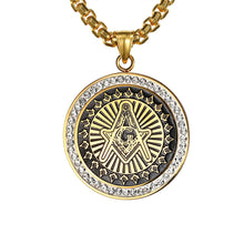 Load image into Gallery viewer, GUNGNEER Stainless Steel Round Eye Pendant Freemason Eye Of Horus Necklace Jewelry For Men