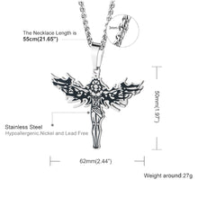 Load image into Gallery viewer, GUNGNEER Stainless Steel Christian Angel Necklace Jesus Pendant Jewelry For Men Women