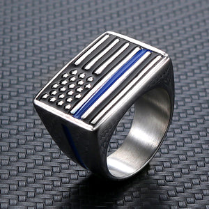 GUNGNEER Stainless Steel Rectangle American Flag Shaped Ring Jewelry Accessories Men Women