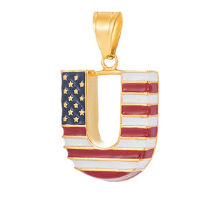 GUNGNEER Stainless Steel HIP Hop U Shape American Flag Pendant Necklace Jewelry Men Women