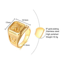 Load image into Gallery viewer, GUNGNEER Stainless Steel Goldtone US American Eagle Ring Biker Punk Jewelry Accessories Men