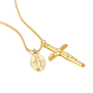 GUNGNEER Stainless Steel Virgin Mary Christian Cross Medal Pendant Necklace Jewelry Accessories