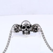 Load image into Gallery viewer, GUNGNEER Stainless Steel Freemason Ring Biker Skull Pendant Necklace Jewelry Set