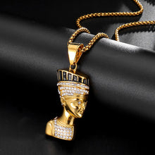 Load image into Gallery viewer, GUNGNEER Egyptian Cleopatra Stainless Steel Pharaoh Crystal Necklace Geometric Ring Jewelry Set