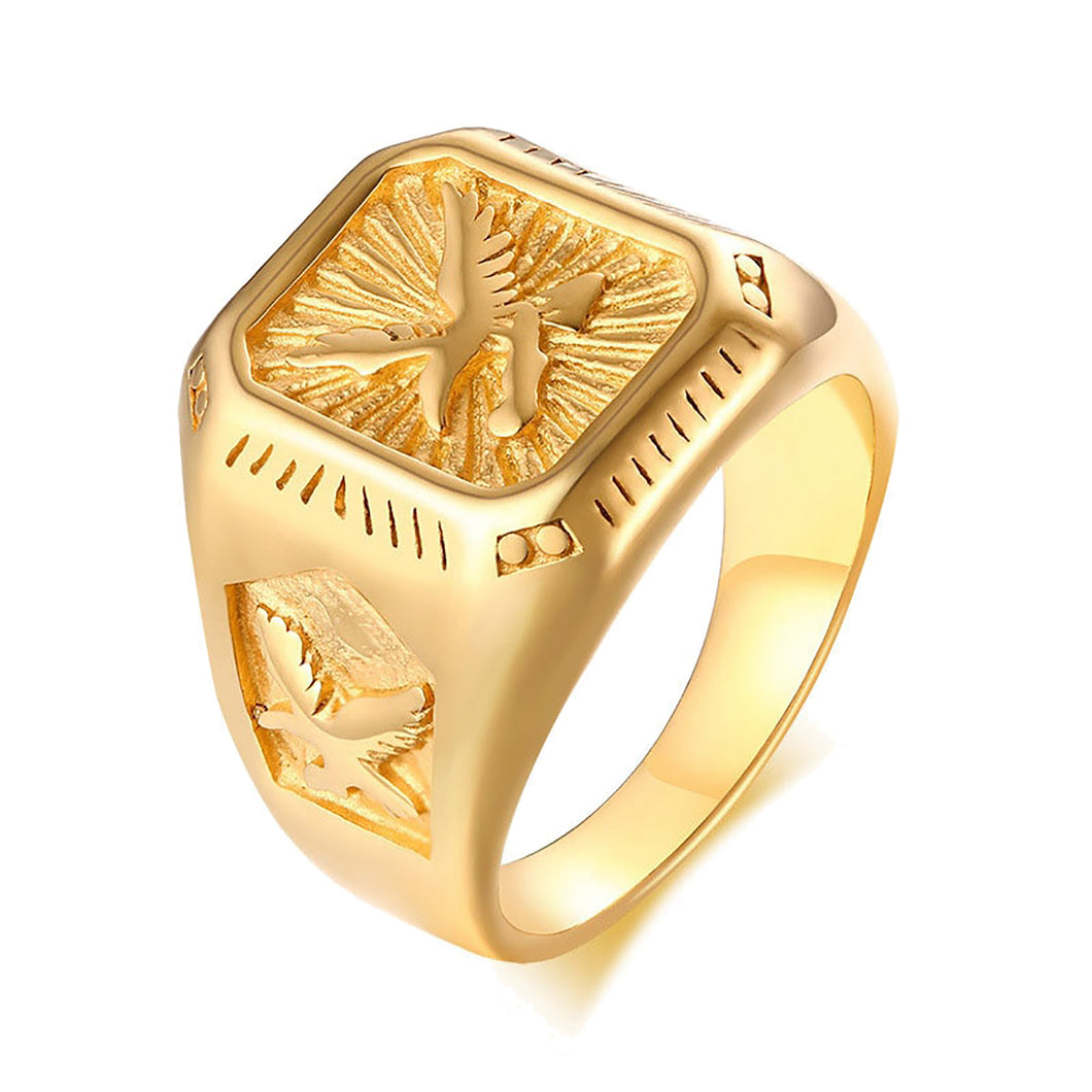 GUNGNEER Stainless Steel Goldtone US American Eagle Ring Biker Punk Jewelry Accessories Men