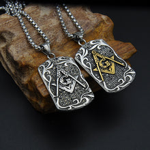 Load image into Gallery viewer, GUNGNEER Masonic Pendant Necklace Mason Symbol Stainless Steel Jewelry For Men