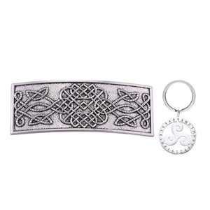 GUNGNEER Celtic Irish Knot Trinity Infinity Hair Pin with Triskele Key Chain Jewelry Outfit Set