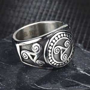 GUNGNEER Celtic Triskele Triskelion Allison Stainless Steel Ring Jewelry for Men Women