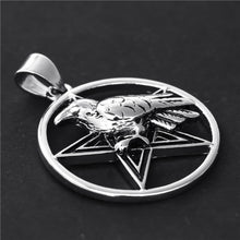 Load image into Gallery viewer, GUNGNEER Wicca Pentagram Raven Witchcraft Pendant Necklace Wheat Chain Bracelet Jewelry Set