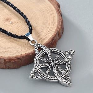 GUNGNEER Celtic Knot Floral Pendant Necklace Stainless Steel Amulet Jewelry Men Women