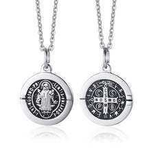 Load image into Gallery viewer, GUNGNEER Stainless Steel Saint Benedict Medal Pendant Necklace with Bracelet Jewelry Set