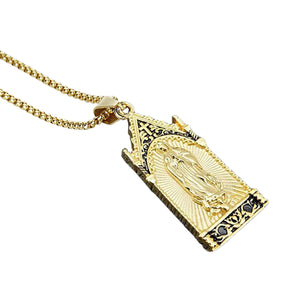 GUNGNEER Stainless Steel Religious Mother of God Virgin Mary Pendant Necklace Jewelry Men Women
