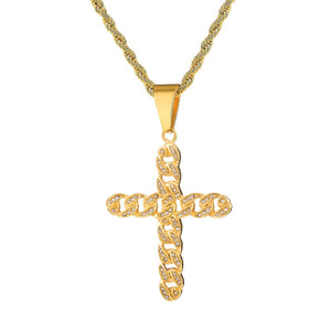 GUNGNEER Stainless Steel Cross Pendant Necklace Christian Jewelry Accessory For Men Women