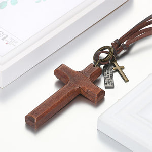 GUNGNEER Leather Wooden Christian Cross Pendant Necklace God Jewelry Gift For Men Women