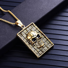 Load image into Gallery viewer, GUNGNEER Stainless Steel Halloween Geometric Indian Skull Pendant Necklaces Ring Jewelry Set