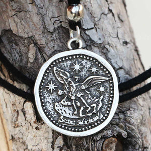 GUNGNEER Black Rope Chain St Michael Seal Necklace Women's Men's Jewelry Accessory