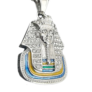 GUNGNEER Egyptian Pharaoh Stainless Steel Pendant Necklace Animal Horse Ring Jewelry Set