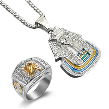 Load image into Gallery viewer, GUNGNEER Egyptian Pharaoh Stainless Steel Pendant Necklace Animal Horse Ring Jewelry Set
