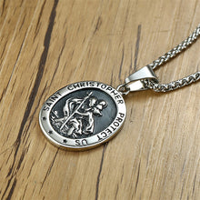 Load image into Gallery viewer, GUNGNEER St Christopher Necklace Protect Us Prayer Stainless Steel Jewelry For Men Women