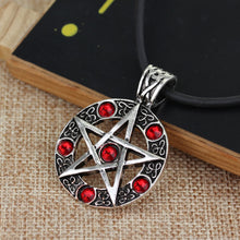Load image into Gallery viewer, GUNGNEER Pentagram Pentacle Wicca Necklace Double Chain Weave Bracelet Jewelry Amulet Set