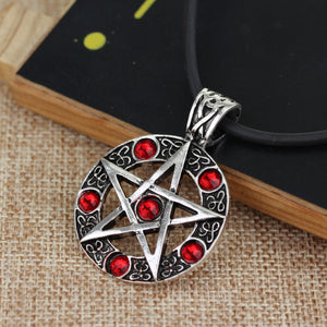 GUNGNEER Pentagram Pentacle Wicca Necklace Double Chain Weave Bracelet Jewelry Amulet Set