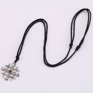 GUNGNEER Jerusalem Cross Stainless Steel Red Crystal Pendant Necklace with Bracelet Jewelry Set
