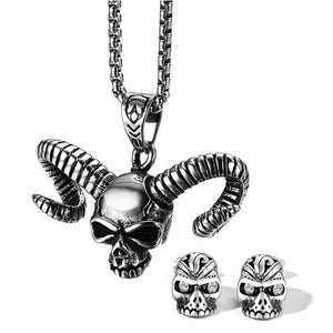 GUNGNEER Stainless Steel Long Horn Skull Skeleton Necklace Earrings Jewelry Set Men Women