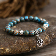 Load image into Gallery viewer, HoliStone Natural Stone & OM Charm Stretch Bracelet ? Anxiety Stress Relief Yoga Meditation Energy Healing Balancing Lucky Charm Bracelet for Women and Men