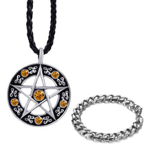 Load image into Gallery viewer, GUNGNEER Stainless Steel Cubic Pentacle Pentagram Pendant Necklace Curb Bracelet Jewelry Set