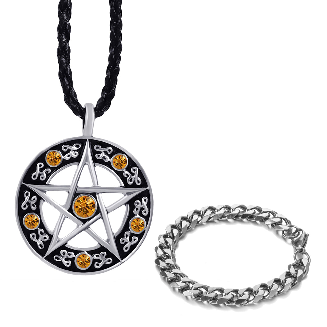 GUNGNEER Stainless Steel Cubic Pentacle Pentagram Pendant Necklace Curb Bracelet Jewelry Set