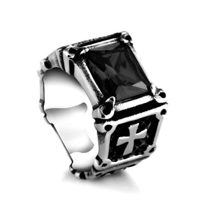 GUNGNEER Knight Templar Cross Stone Ring with Pendant Necklace Stainless Steel Jewelry