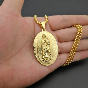 GUNGNEER Stainless Steel Christian Statement Virgin Mary Miraculous Medal Pendant Necklace