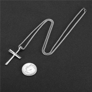 GUNGNEER Baseball Cross Necklace Stainless Steel Chain Jewelry Accessory For Men Women