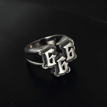 Load image into Gallery viewer, GUNGNEER 2 Pcs Number 666 Stainless Steel Biker Anchor Ring Jewelry Accessories Set Men Women