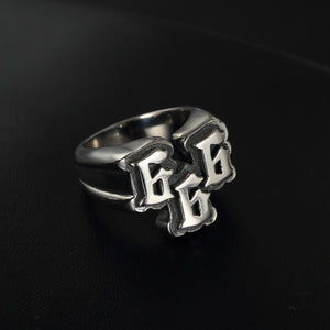 GUNGNEER 2 Pcs Number 666 Stainless Steel Biker Anchor Ring Jewelry Accessories Set Men Women